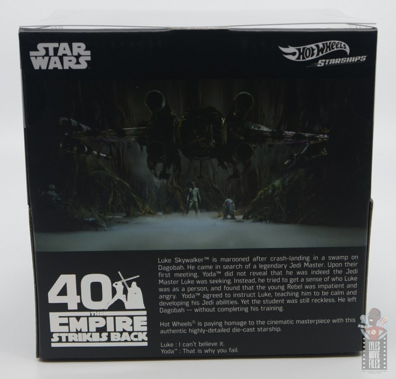 Hot Wheels The Empire Strikes Back X-Wing Dagobah swamp review - package rear