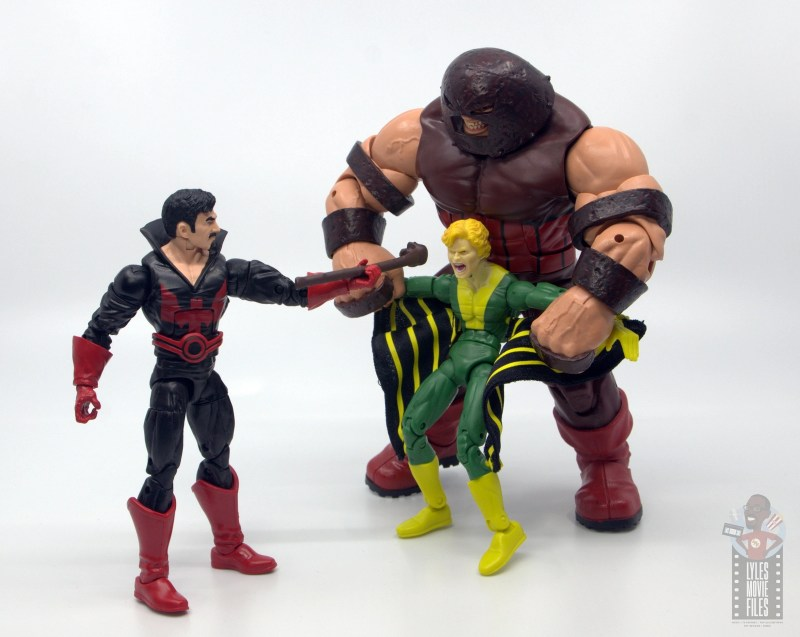 marvel legends black tom cassidy figure review - taunting banshee with juggernaut