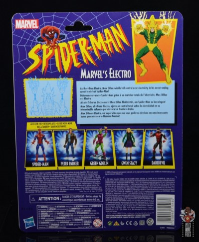 marvel legends electro figure review -package rear