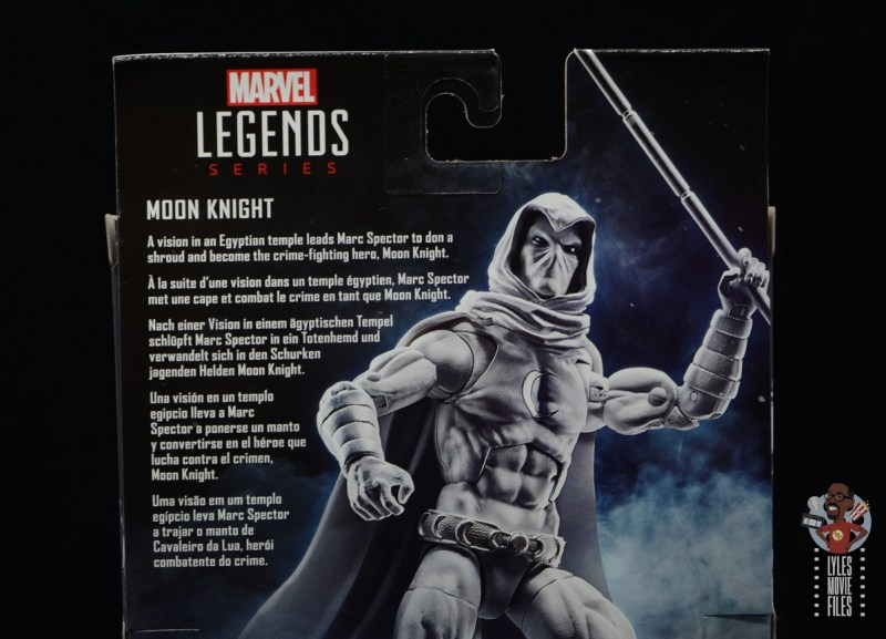 marvel legends moon knight figure review - package bio
