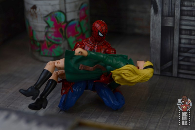 marvel legends retro gwen stacy figure review - held by spider-man