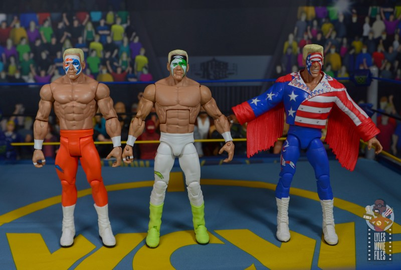 wwe elite 62 sting figure review - scale with basic sting and defining moments sting