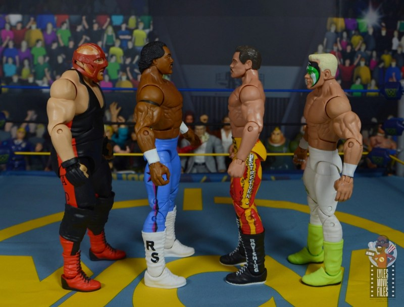 wwe elite hall of champions ron simmons figure review - facing vader, rick rude and sting