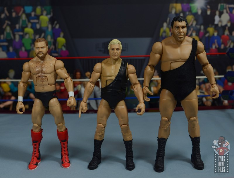 wwe legends 7 bobby the brain heenan figure review -scale with arn anderson and andre the giant