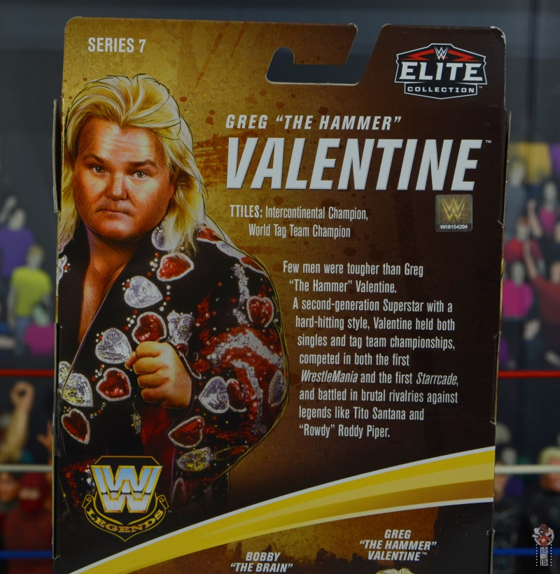 wwe legends 7 greg the hammer valentine figure review - package bio