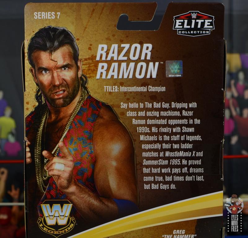 wwe legends 7 razor ramon figure review - package bio