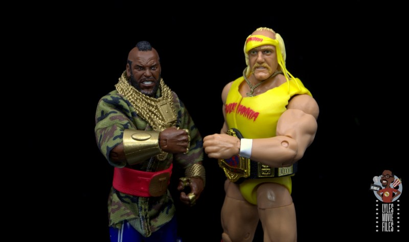 wwe sdcc elite mr. t figure review - side by side with hulk hogan