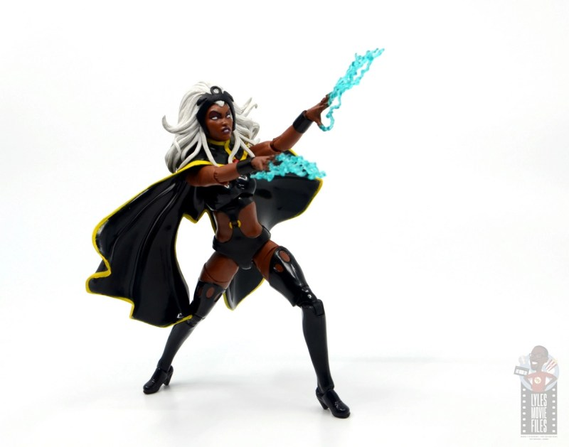 marvel legends storm and thunderbird figure review - storm aiming lightning