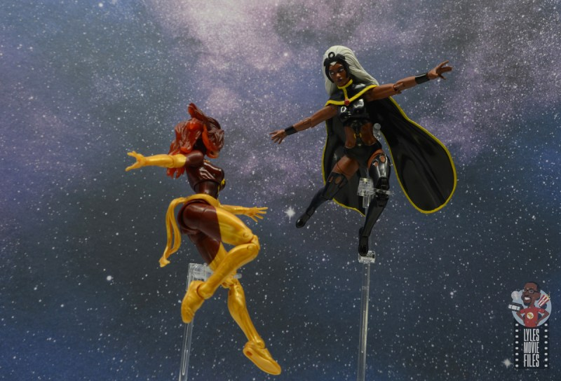 marvel legends storm and thunderbird figure review - storm facing off with dark phoenix