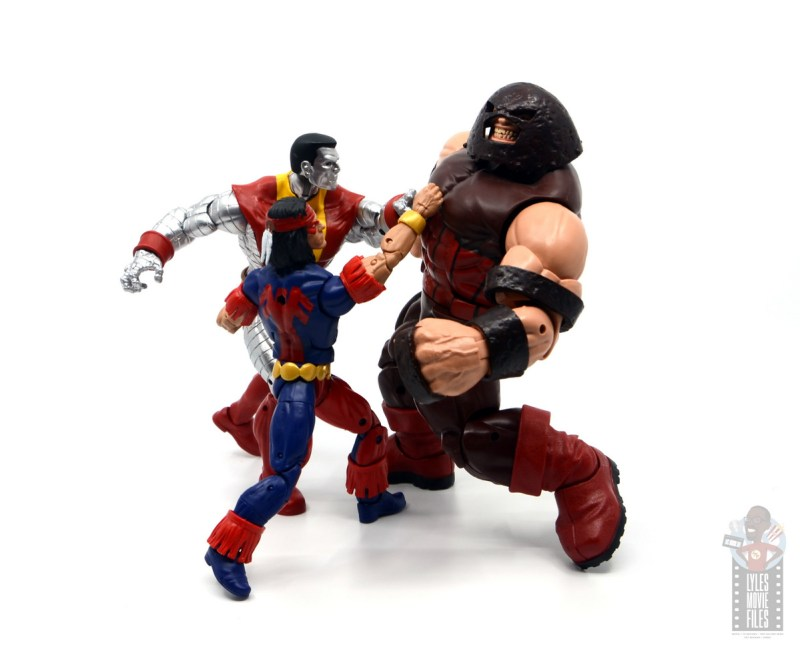 marvel legends storm and thunderbird figure review - thunderbird with colossus punching juggernaut