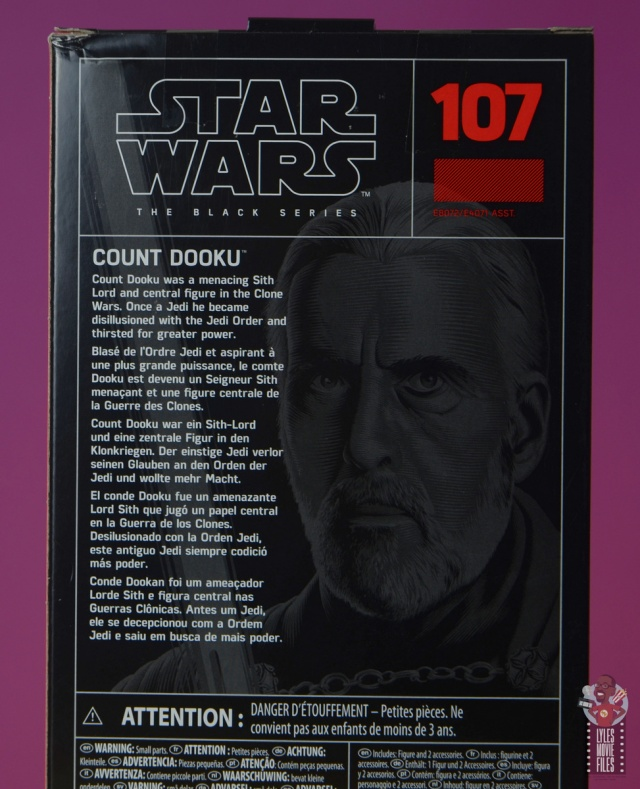 star wars the black series count dooku figure review -package rear