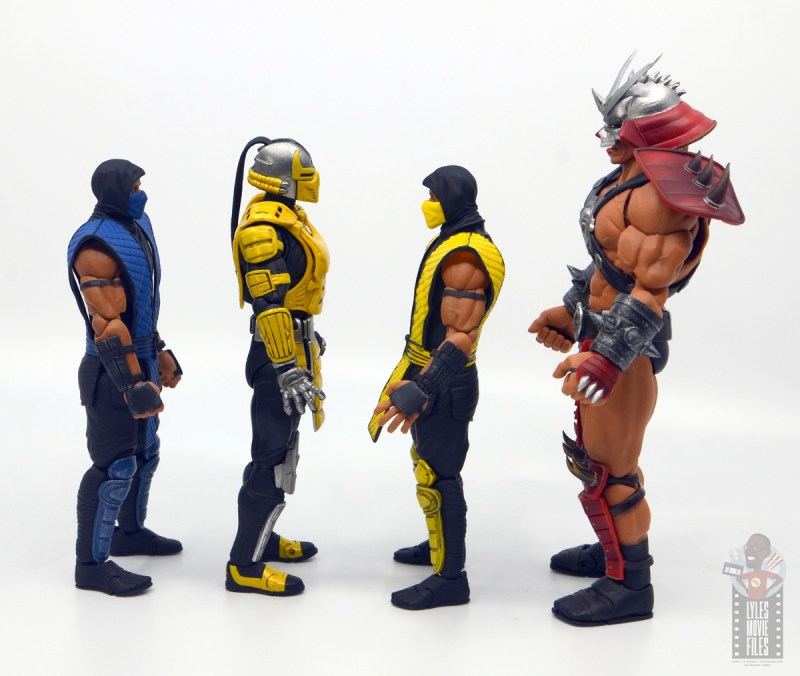 storm collectibles mortal kombat cyrax figure review - facing sub-zero, scorpion and shao khan