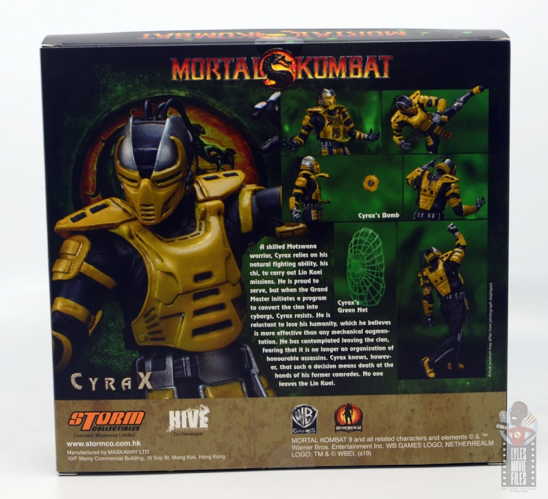 storm collectibles mortal kombat cyrax figure review - package rear