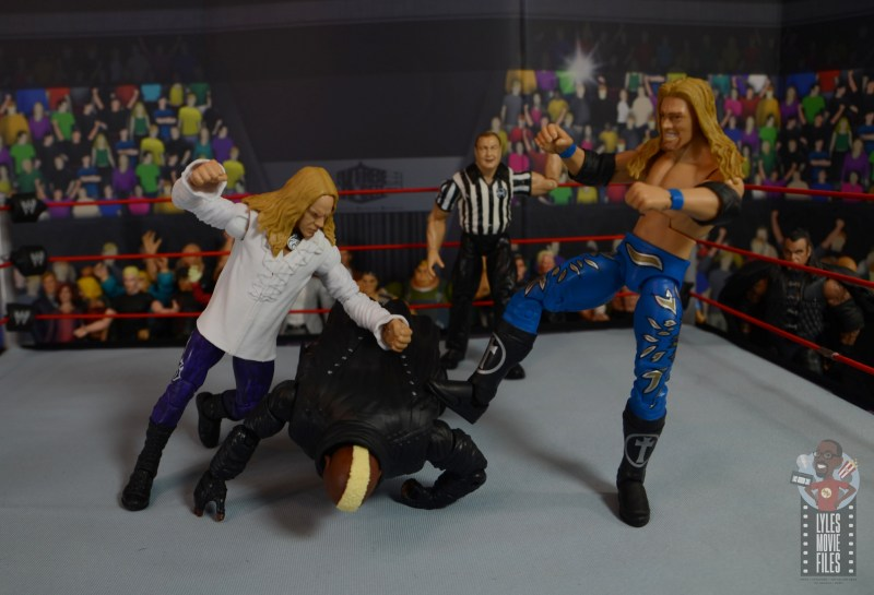 wwe elite brood christian figure review - beating down viscera with edge