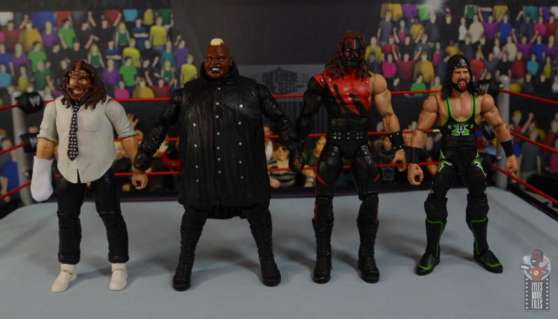 wwe elite series 77 viscera figure review - scale with mankind, kane and x-pac