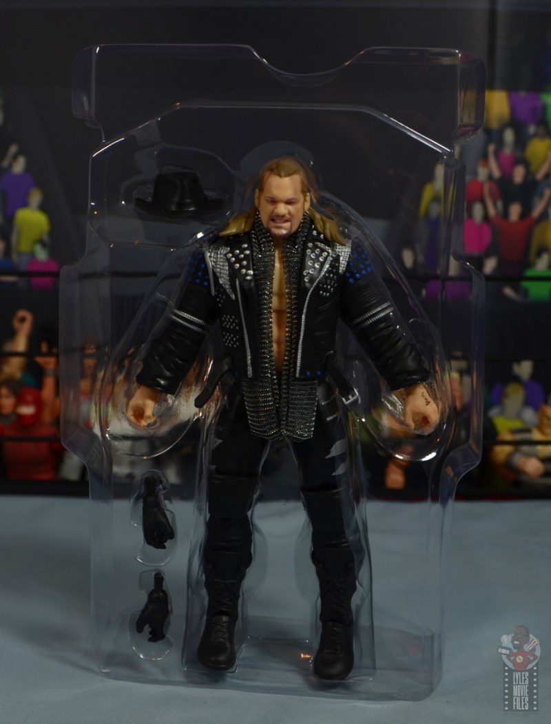 aew unrivaled chris jericho figure review - accessories in tray