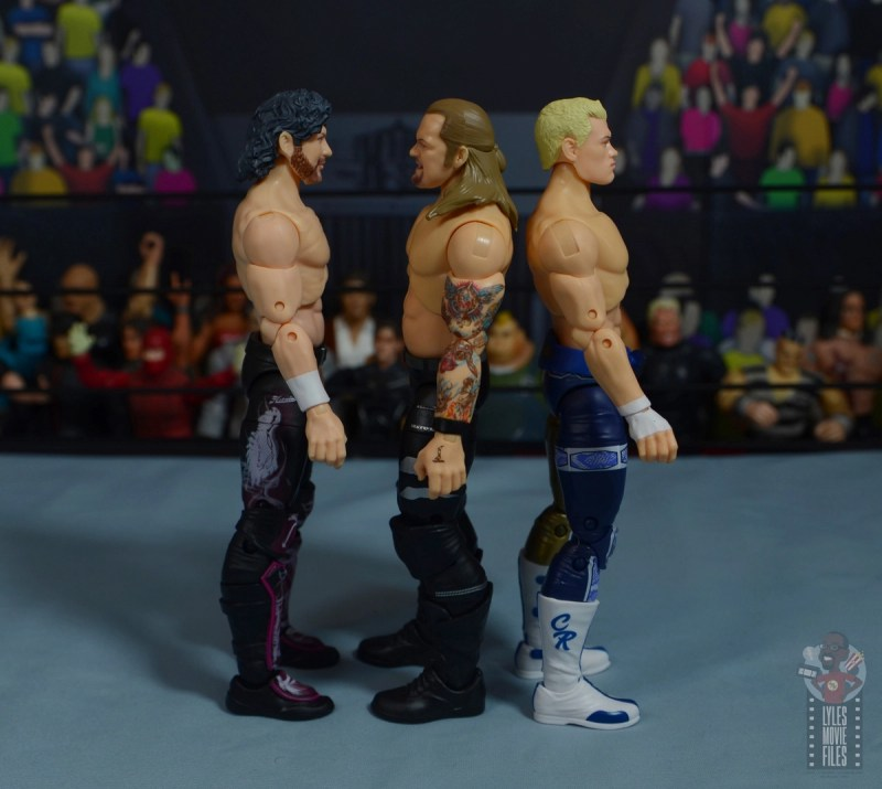 aew unrivaled chris jericho figure review -facing kenny omega and cody