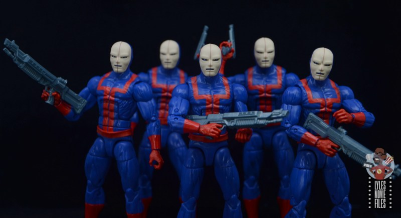 marvel legends hellfire club guard figure review -wide shot of guards