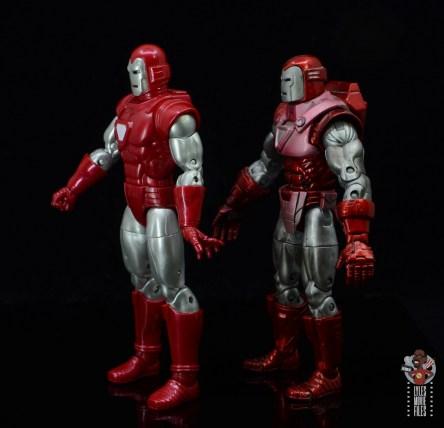 marvel legends silver centurion iron man figure review -left side comparison with toy biz version