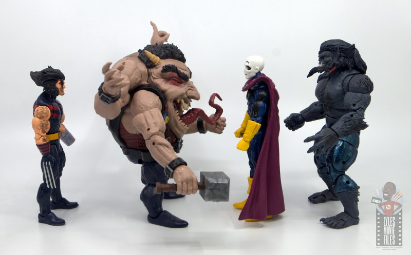 marvel legends sugar man build-a-figure review - facing weapon x, morph and dark beast