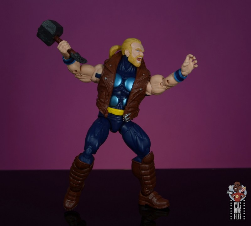 marvel legends thunderstrike figure review - about to fling mace