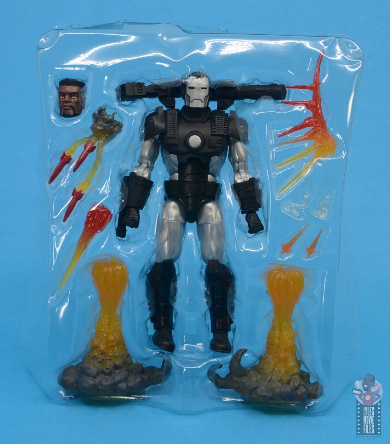 marvel legends war machine figure review - accessories in tray