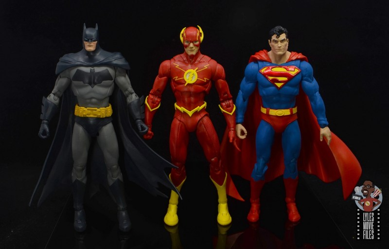 mcfarlane toys dc multiverse the flash figure review -scale with batman and superman