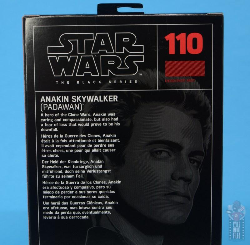 star wars the black series anakin skywalker padawan figure review - package bio