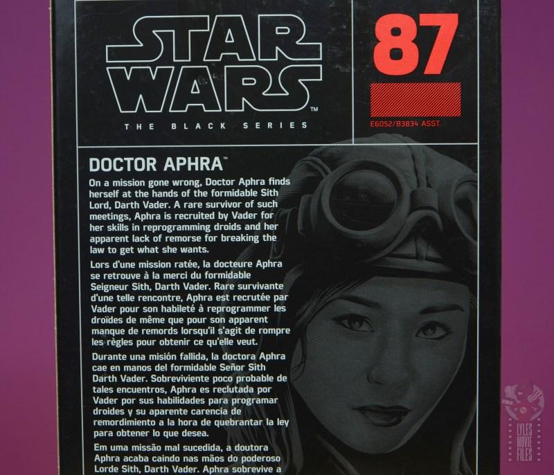 star wars the black series doctor aphra figure review - package bio