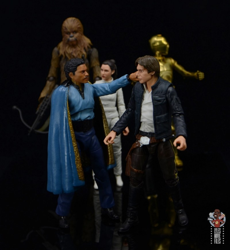 star wars the black series lando calrissian empire strikes back figure review - greeting han solo