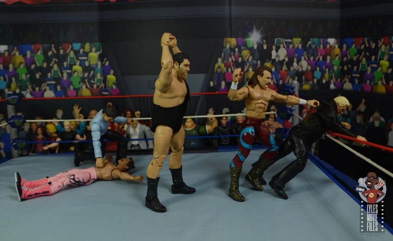 wwe legends 8 jake the snake roberts figure review - andre the giant stalking