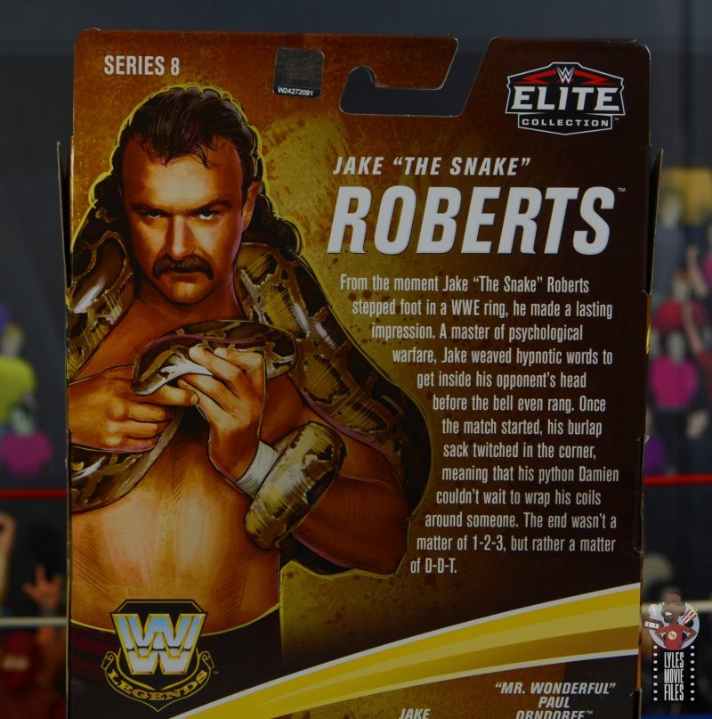 wwe legends 8 jake the snake roberts figure review - package bio