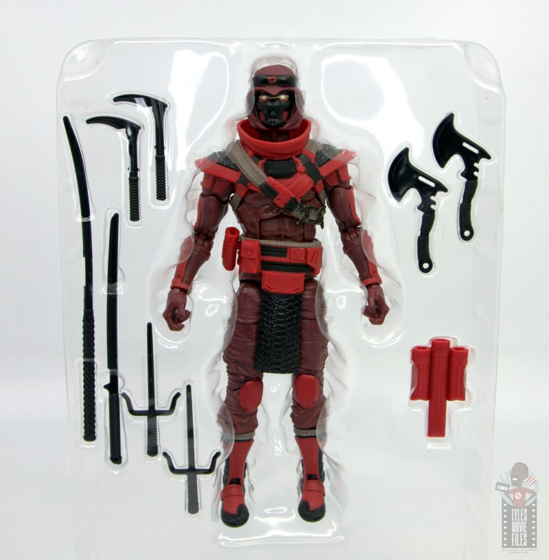 gi joe classified series red ninja figure review - accessories in tray