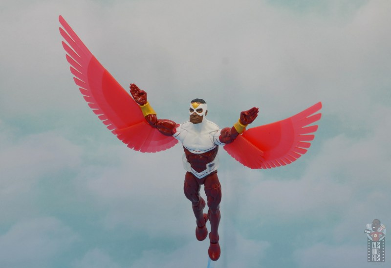 marvel legends falcon figure review - in the skies