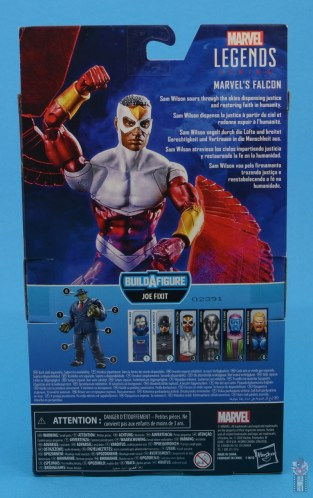 marvel legends falcon figure review - package rear
