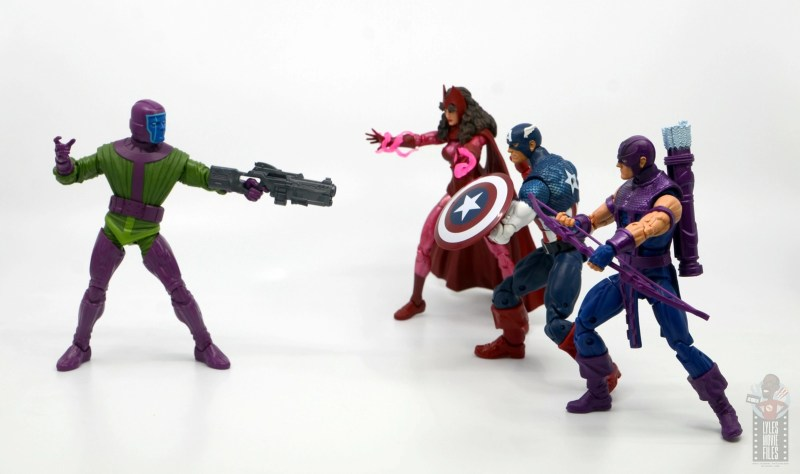 marvel legends kang figure review - aiming at scarlet witch, captain america and hawkeye