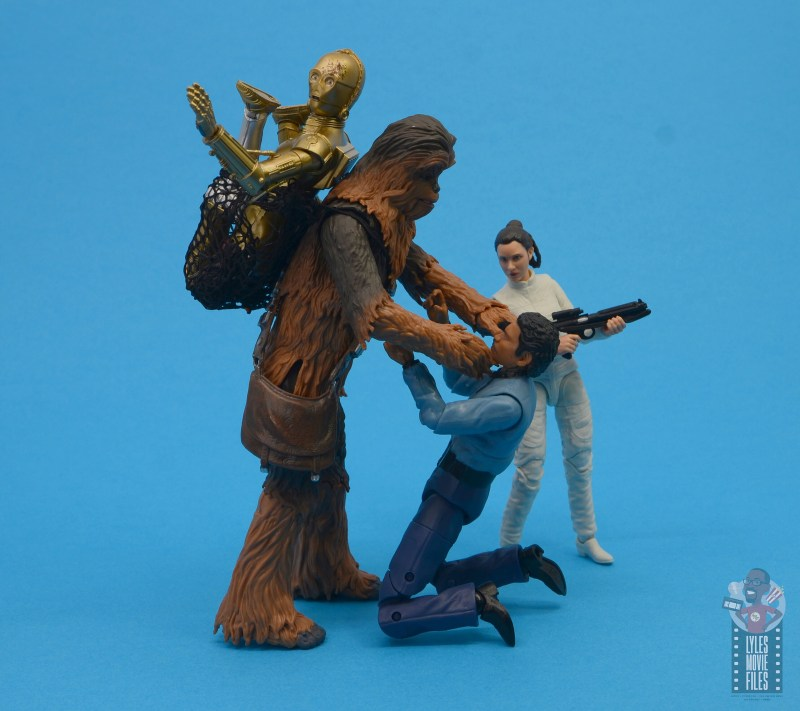 star wars the black series chewbacca and c-3p0 figure set review - choking lando