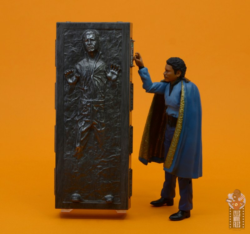 star wars the black series han solo in carbonite figure review - lando checking han