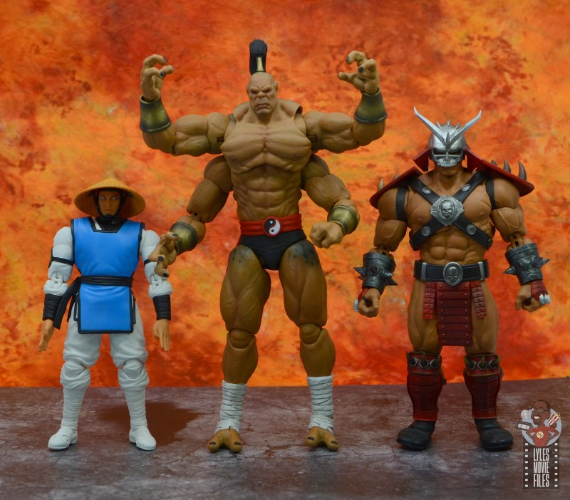 storm collectibles mortal kombat goro figure review - scale with raiden and shao khan