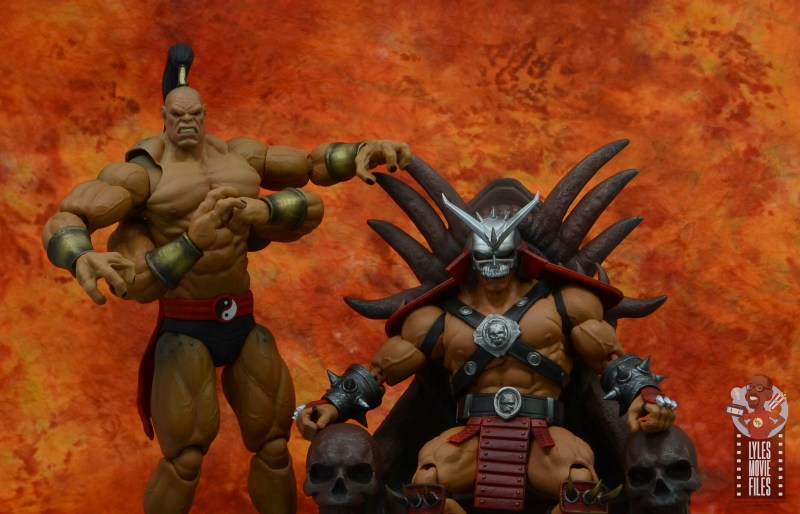 storm collectibles mortal kombat goro figure review - with shao khan