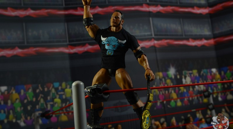 wwe ultimate edition the rock figure review - standing on turnbuckle