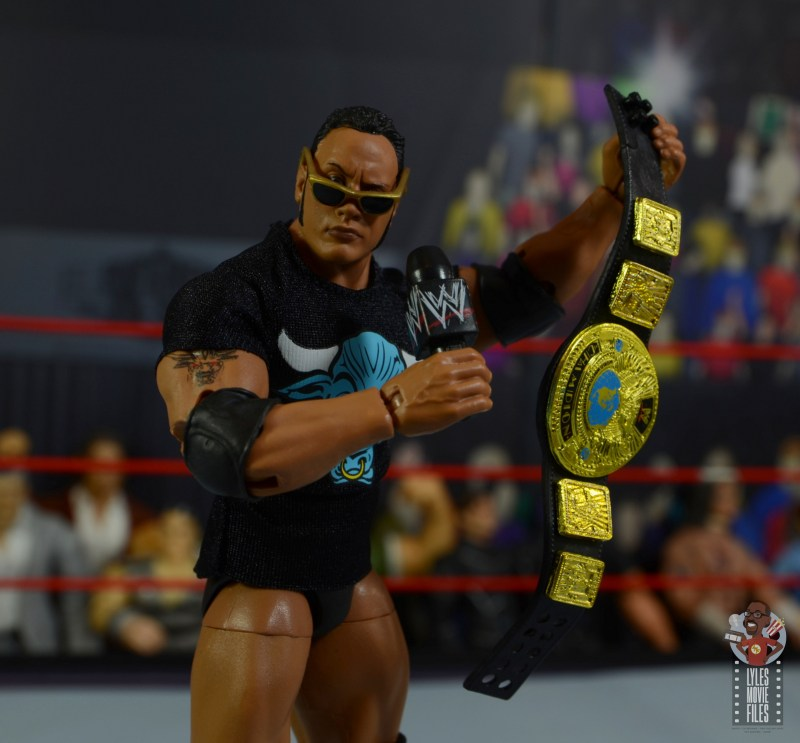 wwe ultimate edition the rock figure review - with sunglasses, mic and world title