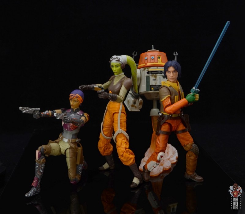 star wars the black series hera syndulla figure review -in action with sabine wren, chopper and ezra bridger