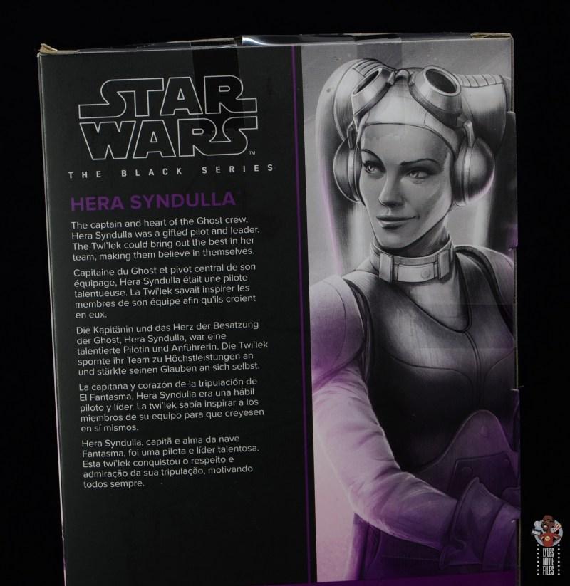 star wars the black series hera syndulla figure review - package bio