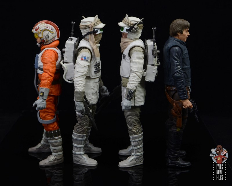 star wars the black series hoth trooper figure review - facing snowspeeder luke and han solo