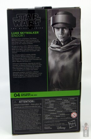star wars the black series luke skywalker endor figure review - package rear