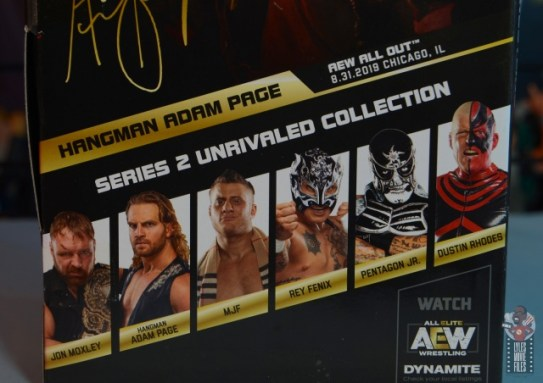 aew unrivaled hangman adam page figure review - package stats