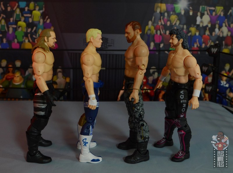 aew unrivaled jon moxley figure review - facing chris jericho, cody rhodes and kenny omega