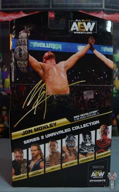 aew unrivaled jon moxley figure review - package rear