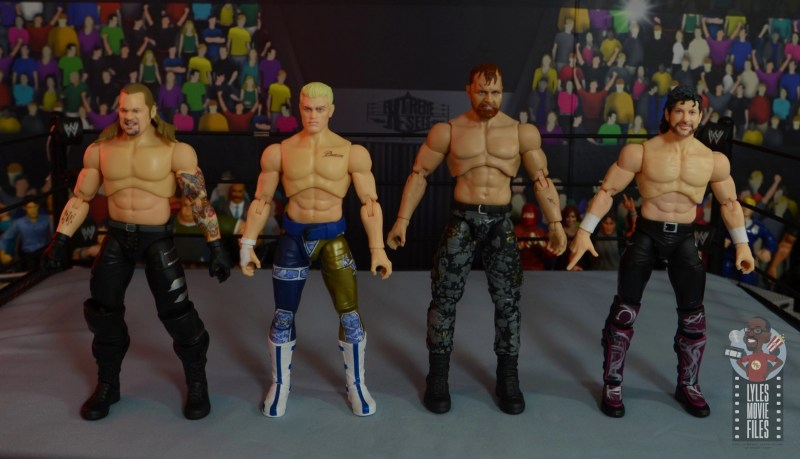 aew unrivaled jon moxley figure review - scale with chris jericho, cody and kenny omega